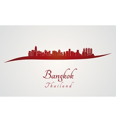 Bangkok skyline in red vector