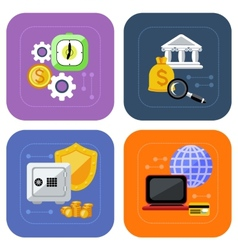 Banking and finance investment icon set vector