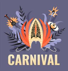 Banner a brazilian carnival with a headdress vector