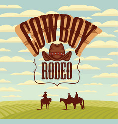 banner for cowboy rodeo with western landscape vector image
