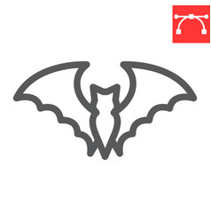 Bat line icon halloween and scary bat sign vector
