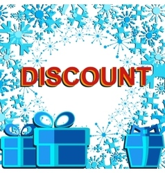 Big winter sale poster with DISCOUNT text vector image
