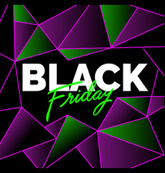 black friday sale dark banner with acid text on a vector image