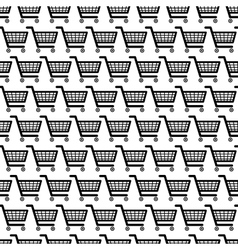 black shopping carts seamless pattern vector image