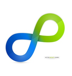 Blue and Green Paper Infinity Symbol Isolated on vector image