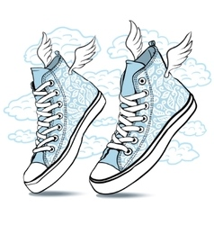 blue shoes with wings vector image