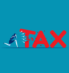 Businessman breaking tax with a fist concept vector