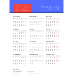 Calendar for 2021 year week starts on monday vector