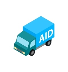 Car humanitarian aid icon isometric 3d style vector