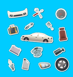 car parts stickers set vector image