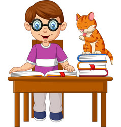 cartoon little boy studying with a cat vector image