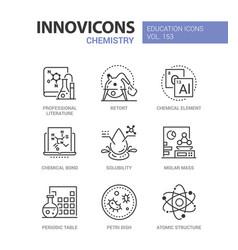 chemistry - modern line design style icons set vector image