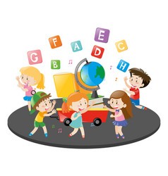 Children dancing and singing song vector