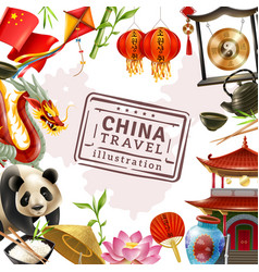china travel frame background vector image
