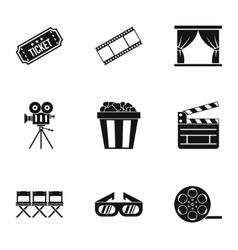 Cinema icons set simple style vector