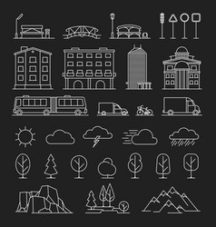 city landscape line icons vector image