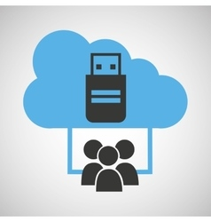 Cloud computing service usb backup vector