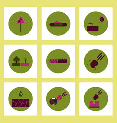 Collection of icons in flat style drought vector