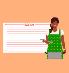 Cooking page and woman in apron with pan vector