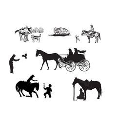Cowboy silhouette set vector