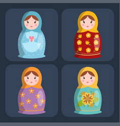 Dolls toy matreshka character game dress and farm vector
