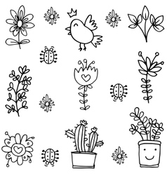 Doodle of spring flower bird element vector