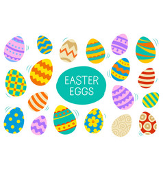 easter eggs set doodle and color style happy vector image