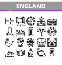 England united kingdom collection icons set vector