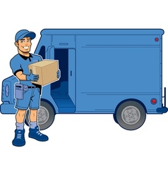 Express Delivery Man and Truck vector