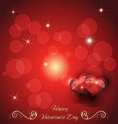 festive greeting card with two hearts valentines d vector image