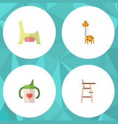 Flat kid set of toy nursing bottle child chair vector
