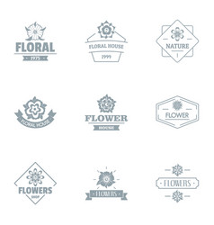 Flora logo set simple style vector