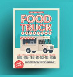 Food truck or street food festival poster or flyer vector