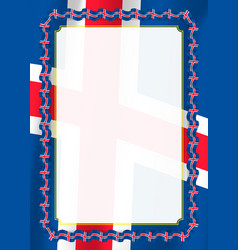 frame and border of ribbon with iceland flag vector image