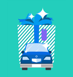 Gift big image and car poster vector