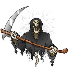 Grim reaper cartoon character holding a death scyt vector