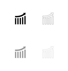 growing graph black and grey set icon vector image
