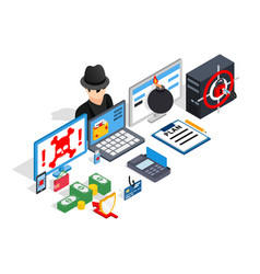 Hacking clip art isometric style vector