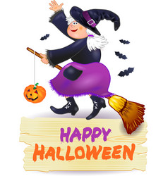 halloween witch and banner with text vector image