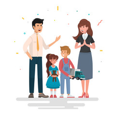 Happy family father mother and children vector