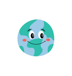 happy smiling earth planet flat cartoon vector image