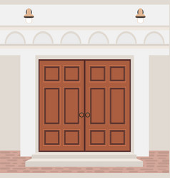 House door front with steps and lamps building vector