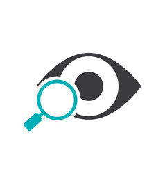 Human eye with magnifying glass colored icon vector