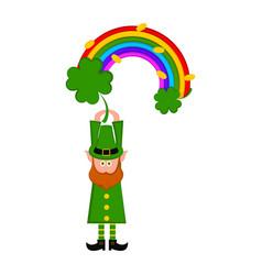 Irish elf with a rainbow and clovers vector