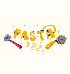 italian food making delicious pasta cartoon vector image