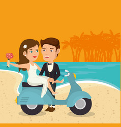 Just married couple in the beach with motorcycle vector