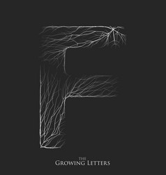 Letter f of branch or cracked alphabet f vector