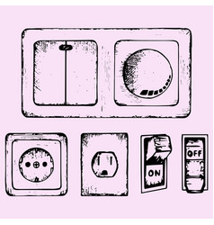 light switch socket vector image