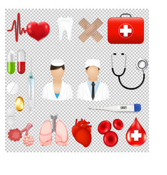 medical icons and equipments tools transparent vector image