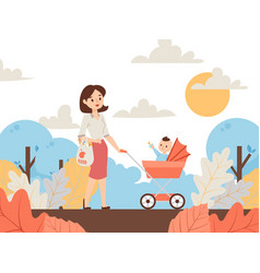 mother walking in park with bastroller vector image